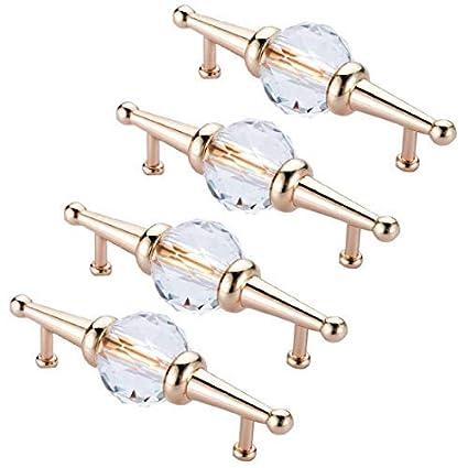 Biggroup 1 unidad cajones dorado armarios 4 piezas Tirador de cristal transparente para puertas de cocina
