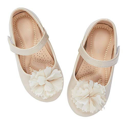 ADAMUMU Toddler Shoes Mary Jane Shoes Dress Girls Flower Crystals Flat for Children in Wedding Party Uniform School Daily Wear,9M US Toddler,Cream