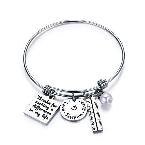 fa5fb03b65 CJ&M Graduation Gift,Personalized Teacher Bangle Bracelet, for Teacher, Gift  from Student, Personalized Teacher Jewelry