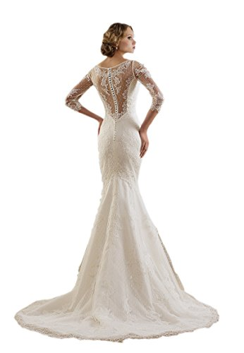 Engerla Huelsen Appliques 3 Spitze Weiß schiere 4 Frauen V Hochzeitskleid Meerjungfrau Ausschnitt rx8qnAH4rw