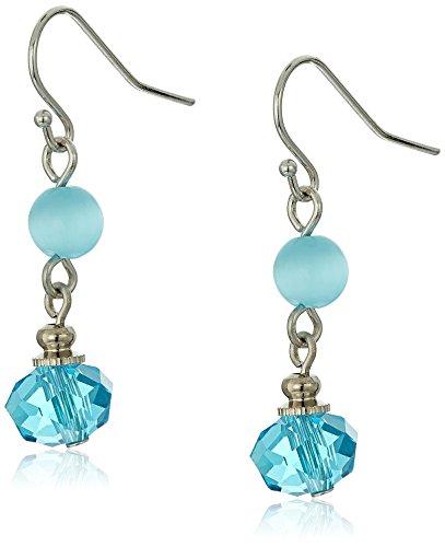 1928 Jewelry Silver-Tone Blue Bead Wire Drop Earrings (Silver Bead Blue Tone)
