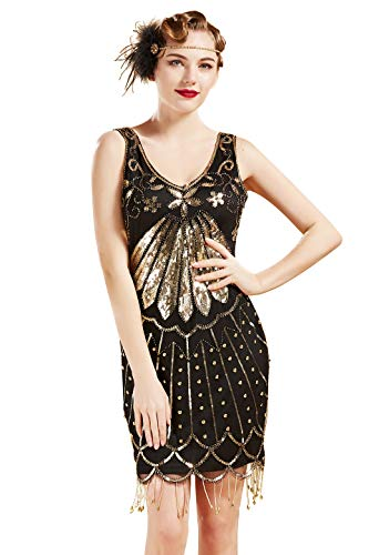 BABEYOND 1920s Flapper Dress Sequins Art Deco Dress 20s Great Gatsby Beaded Fringe Dress for Party (Black Gold, -