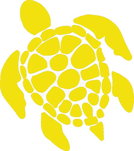 (hBARSCI Sea Turtle Vinyl Decal - 5 Inches - for Cars, Trucks, Windows, Laptops, Tablets, Outdoor-Grade 2.5mil Thick Vinyl - Yellow)
