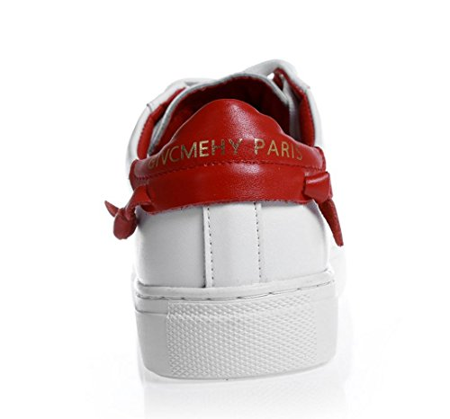 YCMDM delle nuove donne del cuoio genuino piccole scarpe bianche in pizzo pattini piani casuali scarpe sportive singole primavera e l'estate , red , 34