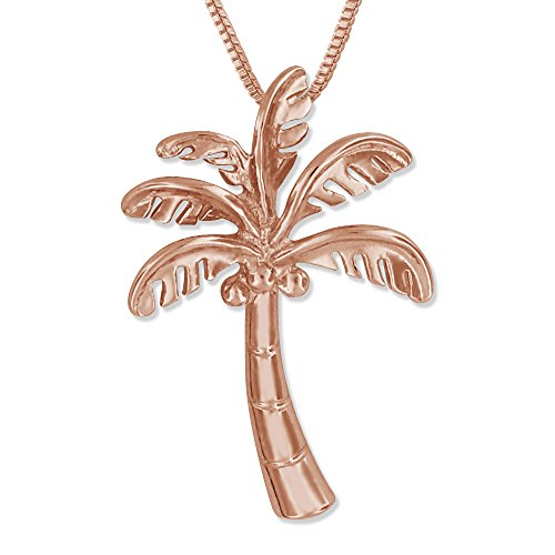 14kt Rose Gold Plated Sterling Silver Palm Tree Pendant Necklace, 16+2
