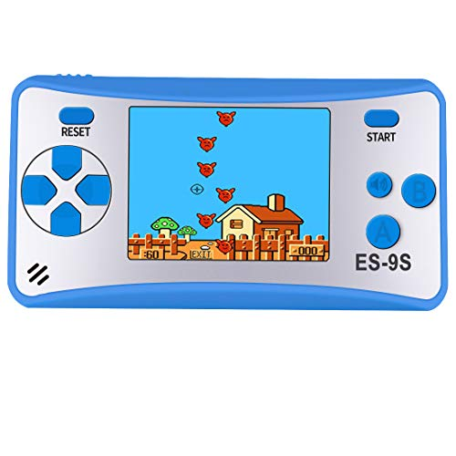 Kids Handheld Game Console Retro Video Game Player Portable Arcade Gaming System Birthday Gift for Children Travel Recreation 2.5 Color LCD Screen 16 Bit 168 Classic Games(Blue Silver)