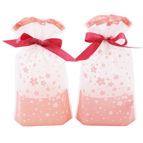 SumDirect 50 Pcs Sakura Cherry Blossom Stand up Treat Bags Party Favor Bags Dessert Bags Cookie Bags Candy Bags Food Storage Bags with Pink Satin Drawstring-6x9.3 inches -