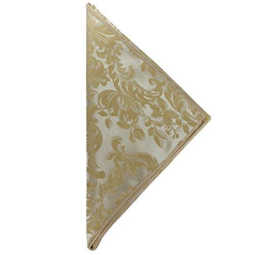 (Ultimate Textile -1 Dozen- Miranda 17 x 17-Inch Damask Cloth Napkins Champagne Ivory Cream)