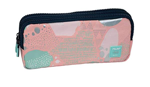 Portatodo 3 cremalleras Silver V rosa: Amazon.es: Oficina y papelería