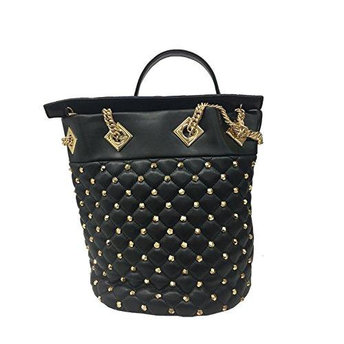 LA CARRIE BAG borsa donna nera con applicazioni oro art 172-B-140-EP/BL CHESTER SECCHIELLO 100% ecopelle