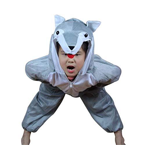 Kids Unisex Animal Cartoon Homewear Pajamas Performance Costume Cosplay Party (Wolf, M) -