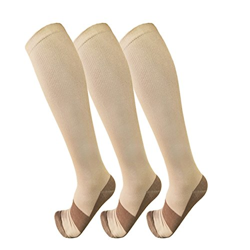 Copper Compression Socks For Men   Women 3 Pairs   Best For Running Athletic Medical Pregnancy And Travel  15 20Mmhg  L Xl  Nude