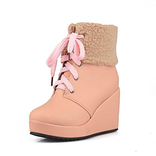 Bandage Ladies Pink Round Platform Soft Toe Boots Material AdeeSu 5Fq4zO4