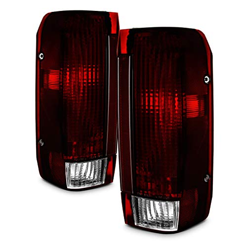 For Ford Bronco F150 F250 F350 Pickup Truck Dark Red Tail Lights Brake Lamps Replacement Pair Assembly ()