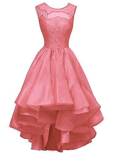 Bridal Low Party Beaded Women Prom amp Organza Watermelon Dora Acute s High Dresses R1xdUnRwqS
