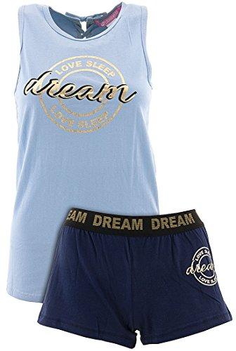 Love Loungewear Juniors Dream Love Sleep Blue Shorty Pajamas M - Gold Shorty Shorts