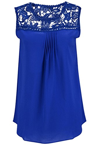 Manzocha Women's Lace Chiffon T Shirt Stitching Blouse Hollow Out Tops – Medium, Blue