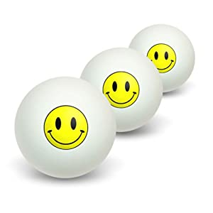 Smile Smiley, Neuheit Tisch Tennis Ping Pong Ball 3Pack