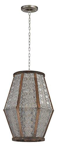 - Nickel/Wood 1 Light Full Sized Pendant