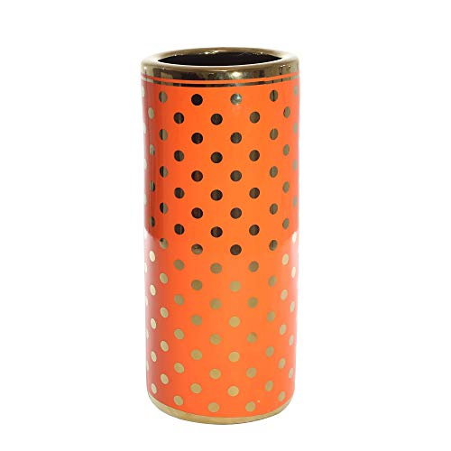 Sagebrook Home Decorative Ceramic Umbrella Stand, Orange/Gold, 7.75x7.75x18,