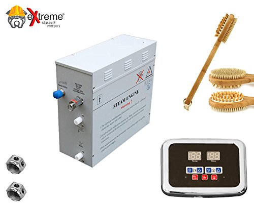 Steam Bath - Sauna Bath Steam Generator (Self Draining) with Programmable Control Panel & Chrome Steam Outlet for Your Home Steam Bath - 6KW - w/ 2-Sided Bath Brush Massage