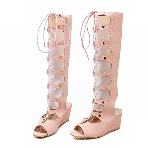 Carolbar Vrouwen Lace-up Bandage Cosplay Zoete Mode Peep-teen Gladiator Stijl Sleehak Jurk Lange Zomer Laarzen Roze
