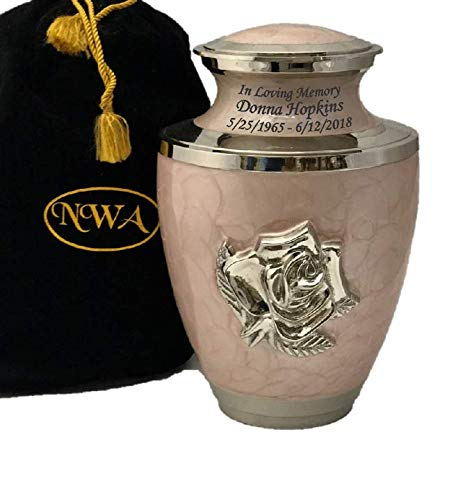 Custom Human Adult Size Pink Rose Cremation Urn, Large Rose Flower Funeral Urn, Funeral urn with Velvet Bag and Personalization