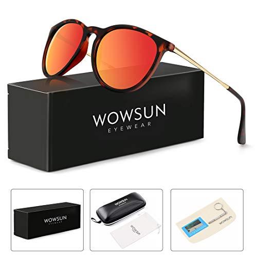 WOWSUN Polarized Sunglasses for Women Vintage Round Mirrored Lens Matte Amber frames Mirror Orange Red