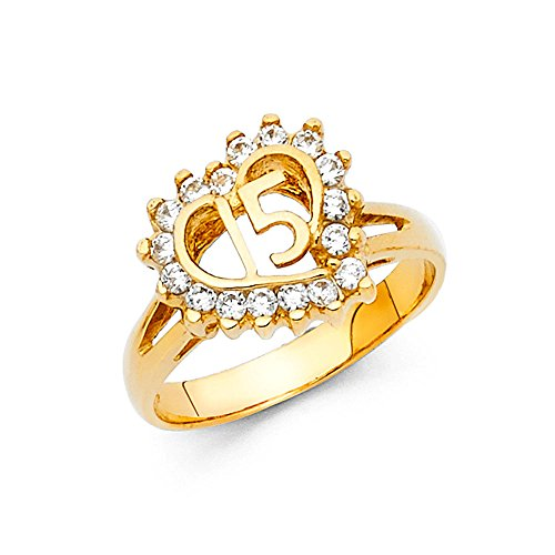 14k Yellow Gold Sweet 15 Ring Heart Quinceanera Band CZ Stylish Design Polished Finish Size 7.5 14k Yellow Gold Sweet