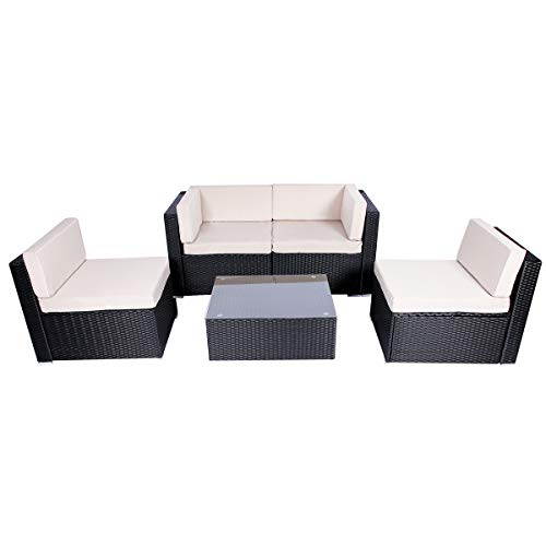 Esright 5 Pieces Patio PE Rattan Wicker Sofa Sectional Furniture (Black)