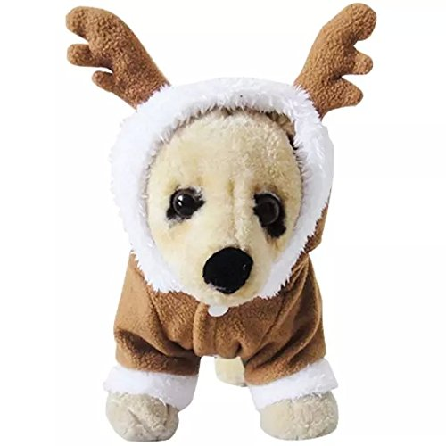 Dogloveit Christmas Reindeer Costumes Soft Dog Clothes For Dog Cat Puppy Pet, Brown, (Reindeer Chihuahua Costume)