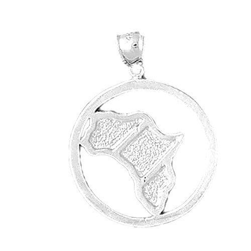 Rhodium-plated 925 Silver 31mm Africa Pendant Necklace by NecklaceObsession