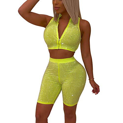 (Women GlitterTwo Piece Outfit - Sexy Crop Top + Sequin Shorts Zip Front Tank Sexy Club Set Green S)