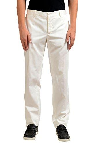 Dolce & Gabbana Men's White Silk Flat Front Dress Pants US 32 IT 48