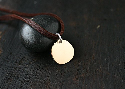 14k Gold Disc Necklace. Solid Gold Pendant with Leather Cord by Jane Fuller Designs - Disk Cord Pendant