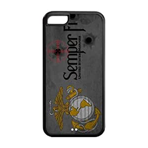 USMC United States Marine Corps Semper Fi Grey Design Iphone 5C Plastic And TPU Silicone Back Wearproof And Sleek Case Cover