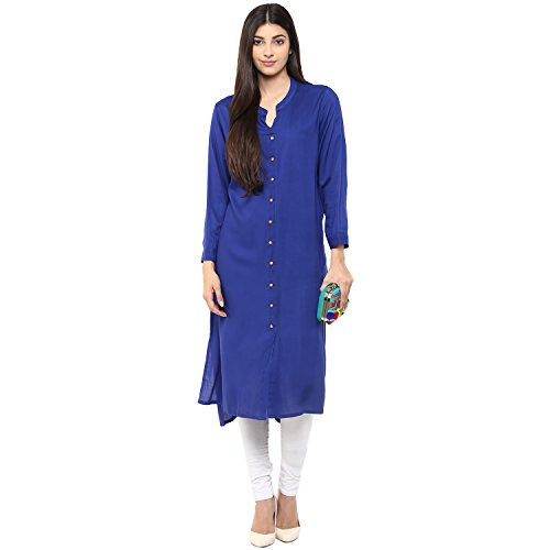 - RISHABH RIDAN Women's Rayon Regular Straight Fit Kurta/Kurti Tunic Top with Long Sleeves for Daily Casual Wear, Office Wear &Ethnic Wear, XX-Large,Ink Blue