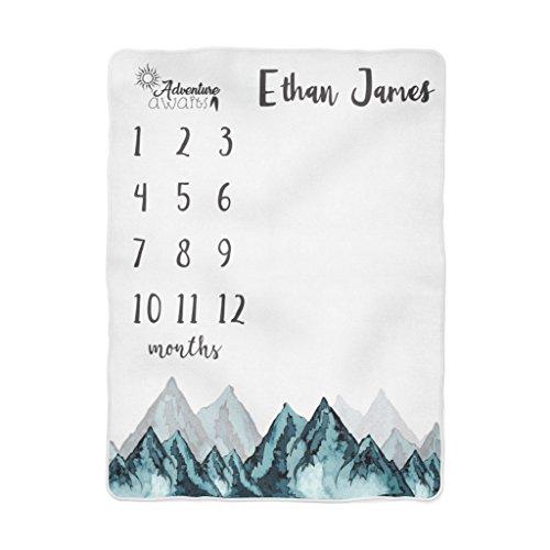 Fleece Bear Adventure - Emily gift Adventure Awaits Baby Milestone Blanket, Forest Mountains Milestone Blanket, Personalized Baby Blanket, Month Baby Blanket, Baby Boy Blanket