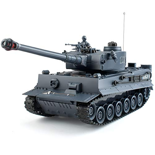 EAHUMM 1:28 RC WW2 German Tiger Army Tank Toys,9 Chanels Romote Control Vehicles with Sound and Light,Military Toys for Kids Boys Girls.
