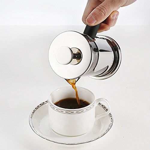 Shopline Stainless Steel Coffee Maker, 600ml Household Tea Glass Filter Brewer (600ml)