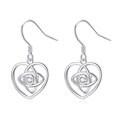 (LAIMALA 925 Sterling Silver Earrings Good Luck Polished Irish Celtic Knot Vintage Dangles for Women Girls (Celtic Knot Heart Earrings))
