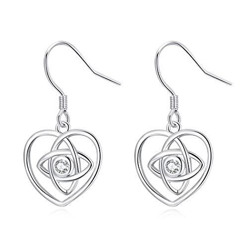 LAIMALA 925 Sterling Silver Earrings Good Luck Polished Irish Celtic Knot Vintage Dangles for Women Girls (Celtic Knot Heart -