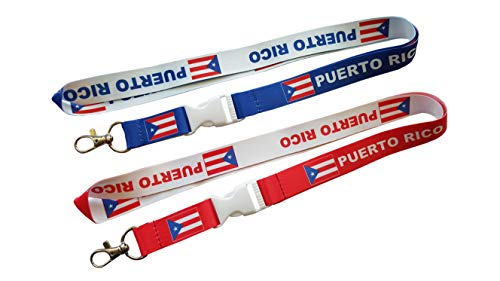 2 Puerto Rico Flag Reversible Lanyards/keychain with clip for keys or id badges. Great for car keys, house keys, school id badges, or work id badges