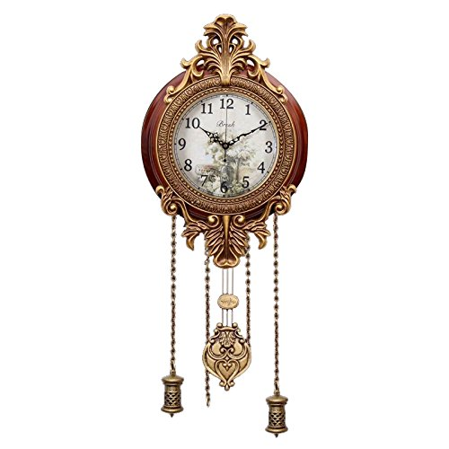 Aero Snail Dia 9-inch Retro Style Vintage Wood Indoor Wall Clock with Swinging Pendulum Requires 2 AA Batteries for Clock Hands and Pendulum