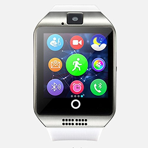 Bluetooth Smart Watch Touch Screen Q18 Smartwatch with Camera SIM TF Card Slot Pedometer Sleep Monitor for Android iOS Phone (White)