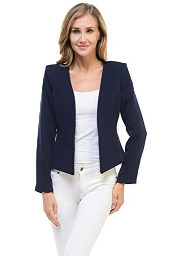Auliné Collection Women's Candy Color Tailored Fit Open Suit Jacket Blazer Navy