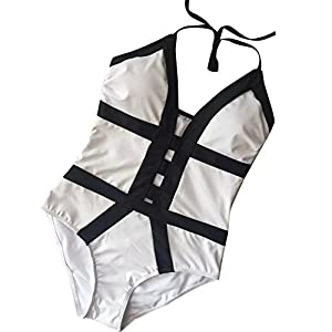 waitFOR Sexy Swimwear for Women,Ladies Elastic Jumpsuit Pure Color Hollow Out Vintage One Piece Bathing Suits Beach Swimsuit Summer Tankini Swimming Costume Beachwear Set