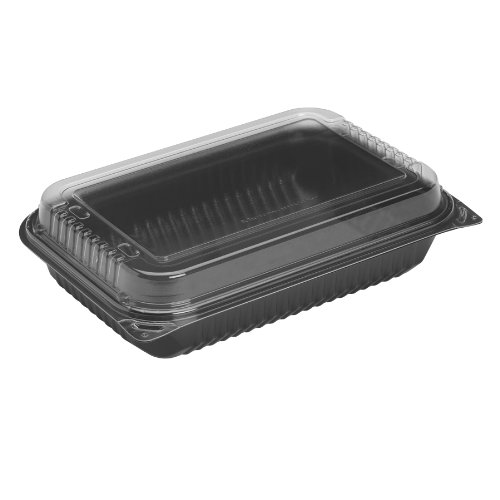 Solo 919021-PM94 11.5 in Black/Clear PM Plastic Hinged Container, 11.5 X 8.05 in (Case of - Plastic Black Hinged Base