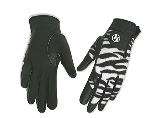 HJ Glove Womens Winter Performance Golf Gloves, Medium, Black Zebra