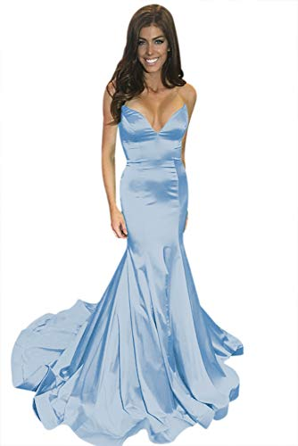 ElenaDressy Elegant Sweetheart Mermaid Sweep Train Long Prom Dresses for Women,Light Blue 6